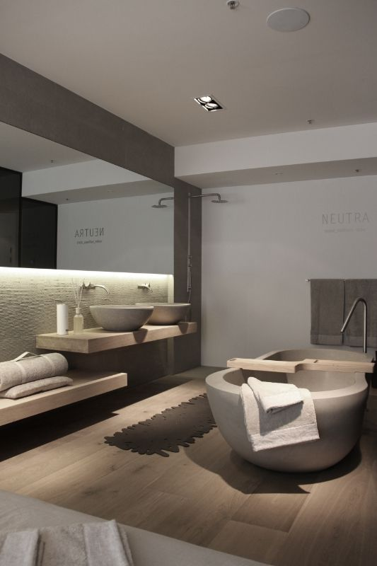 Pure Sydney for Neutra | Natural | Greys & Wood | Modern Minimalist Bathroom | Contemporary Design #inspiration #nakedstyle