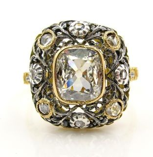 Revived Rococo...GIA 1.37ct Antique Vintage Old Mine Cushion DIAMOND 18K Ring, Italy 1935