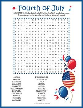 FREE PUZZLE FOR YOU AND YOUR KIDDOS!  Get your students and children looking forward to the fun that is a Fourth of July celebration.  This word search puzzle features 22 vocabulary words from American Independence Day.