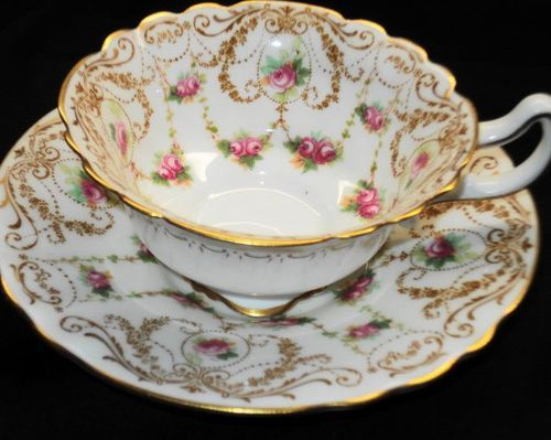 Royal Doulton Antique Pink Roses White Curvy Tea Cup and Saucer | eBay