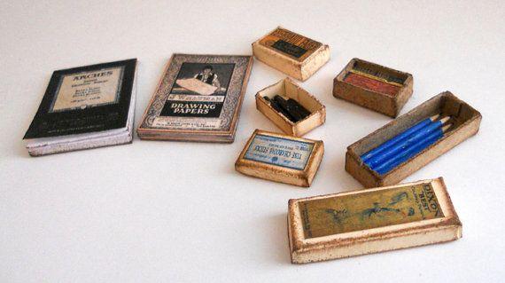 1/12 schalen Vintage tekening van miniatuur kunst door dianecostanza