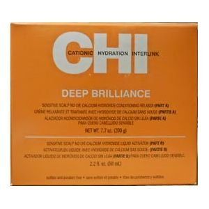 CHI Deep Brilliance Sensitive Scalp No Lye Calcium Hydroxide Conditioning Relaxer(Part A - 7.7 oz/Part B - 2.2 oz) by CHI. $13.99. Can Be Used on Fine, Normal, and Tinted Hair. Hair Relaxer. No Lye. CHI Deep Brilliance Sensitive Scalp No Lye Calcium Hydroxide Conditioning Relaxer is formulated for sensitive scalps. It can be used on fine, normal, and tinted hair to effectively relax textured hair. The system is a two component system with a relaxer and an activator.