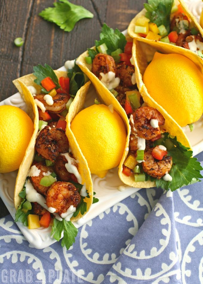 No excuses needed to enjoy Blackened Shrimp Tacos & Creamy Garlic-Lemon Sauce!