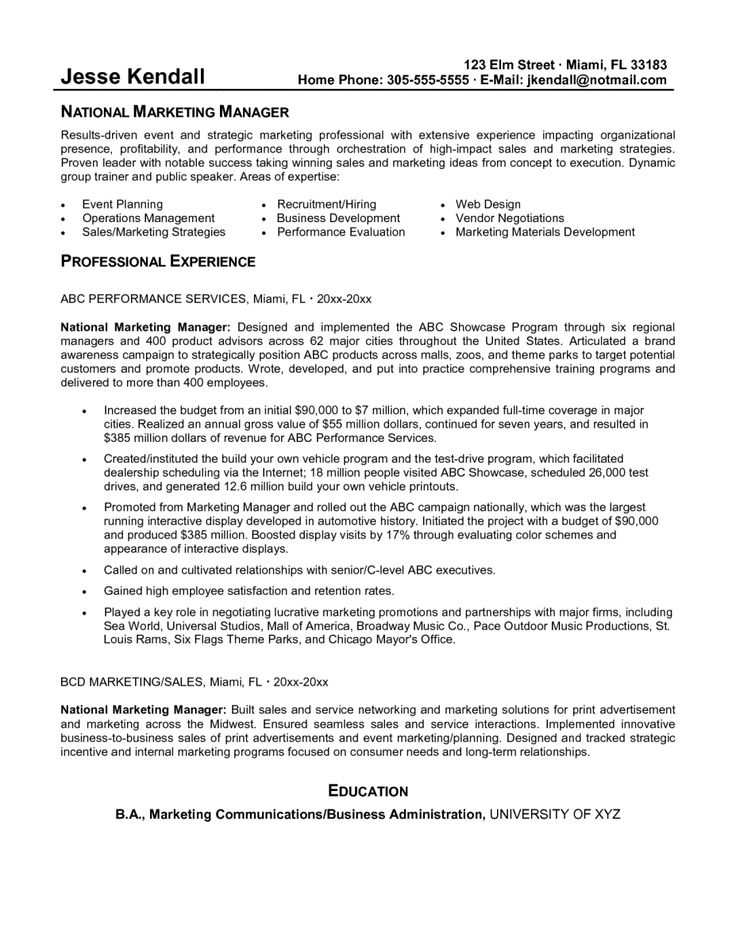 Más de 25 ideas increíbles sobre Examples of resume objectives en - marketing manager resume sample