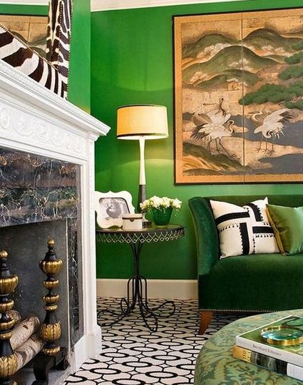 This Living Rooms Elegant Decor Is Given A Modern Twist With Emerald Green