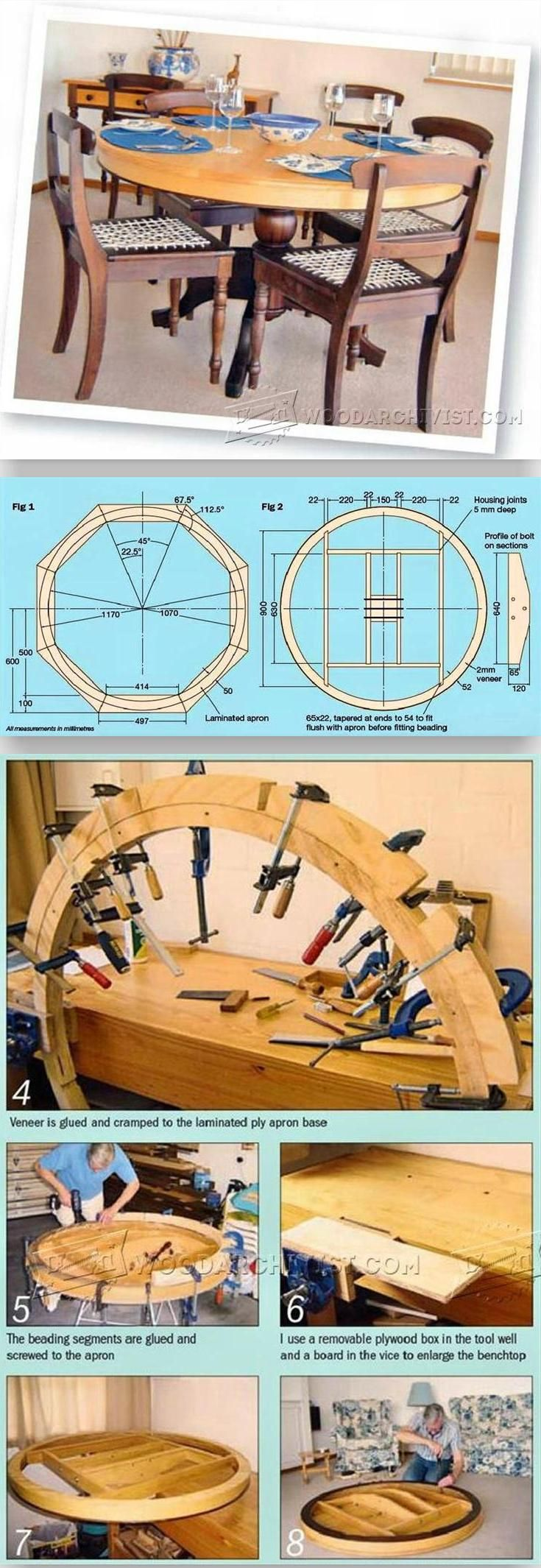 Round Dining Table Plans - Furniture Plans and Projects | WoodArchivist.com