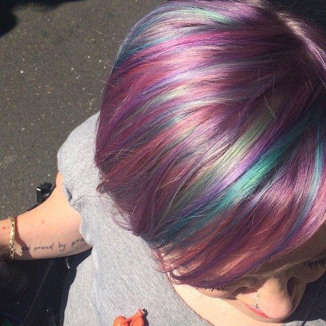 Stella Young has rainbow hair