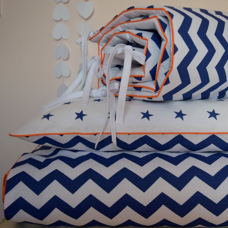 100% COTTON Cot Bed Duvet Cover Set & Bumper Navy Chevron Stars orange piping