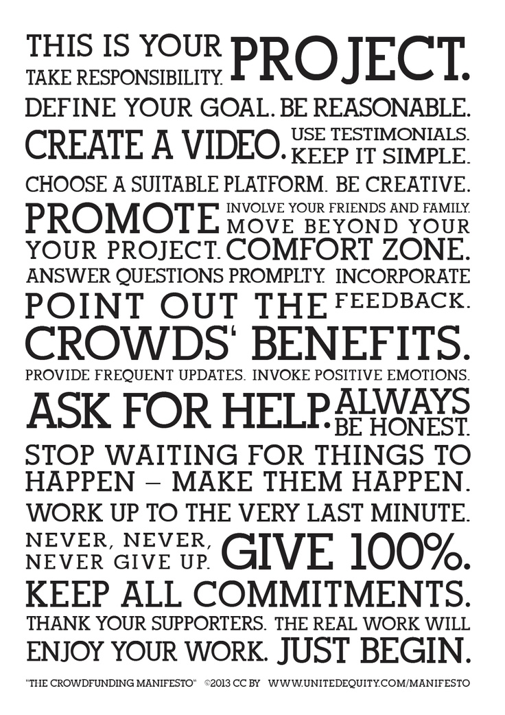 The Crowdfunding Manifesto explains how to create a successful crowdfunding project. Inspired by the Holstee Manifesto, it aims to be motivational and helpful.