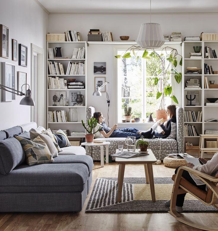 IKEA Vallentuna seating and bookshelves around window