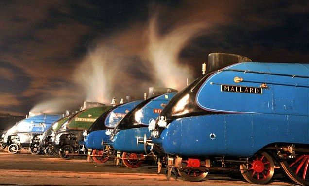 The world's fastest steam locomotive, Mallard, and six of her sister trains were gathered in Shildon, County Durham, yesterday to celebrate the 75th anniversary of the record being set.