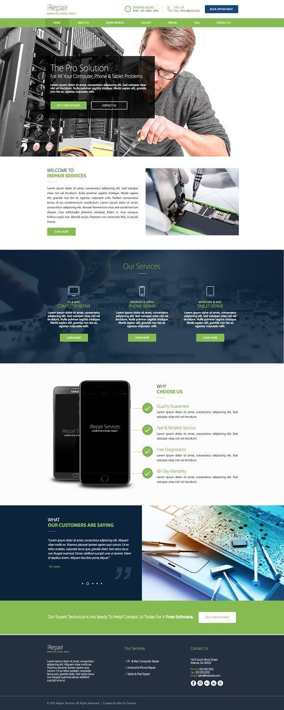 Computer Phone Repair Website Theme By Wix Pro Themes On Creative Market Wix Template Create Your Website With Website Themes Wix Templates Create Website