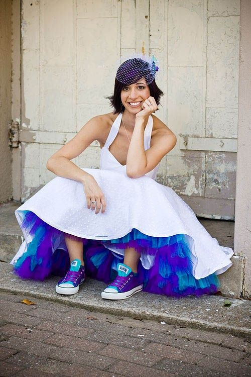 Need this for my peacock wedding!!    Blue skirt accent, colorful converse shoes, maybe with removable train/big reveal for reception