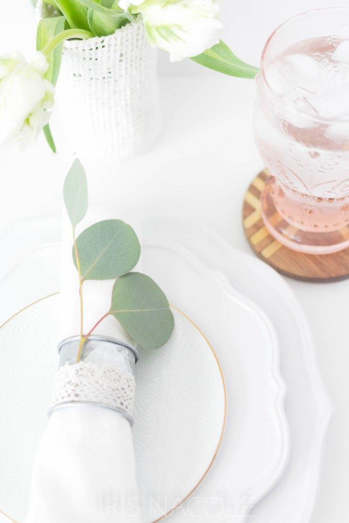 Table Setting Idea Rustic Farmhouse Eucalyptus Napkin Ring Tutorial by Iris Nacole