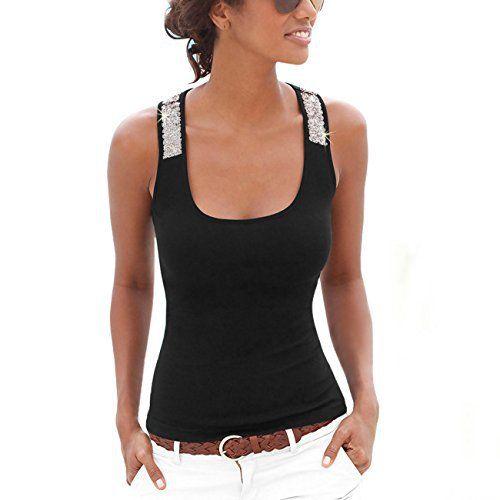 ISASSY Débardeur à Paillettes Femme Uni T-shirt Sans Manche Dos Nageur Décontracté – Noir Taille XL: Tweet Spécifications: Matériel: 60%…