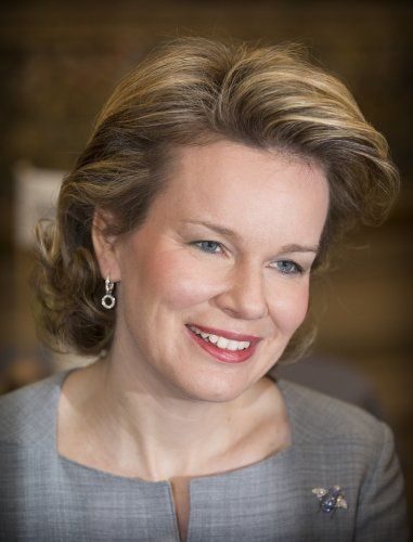 Queen Mathilde of Belgium attended the conference on financial literacy at the Egmont Palace on March 11, 2015 in Brussels, Belgium.