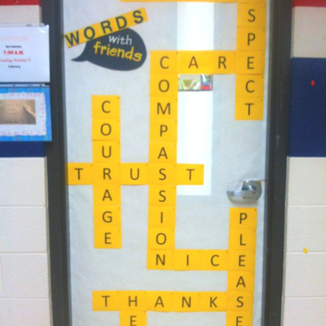 """""""Words with friends"""" Lakewood Schools' Guidance department bulletin board"""