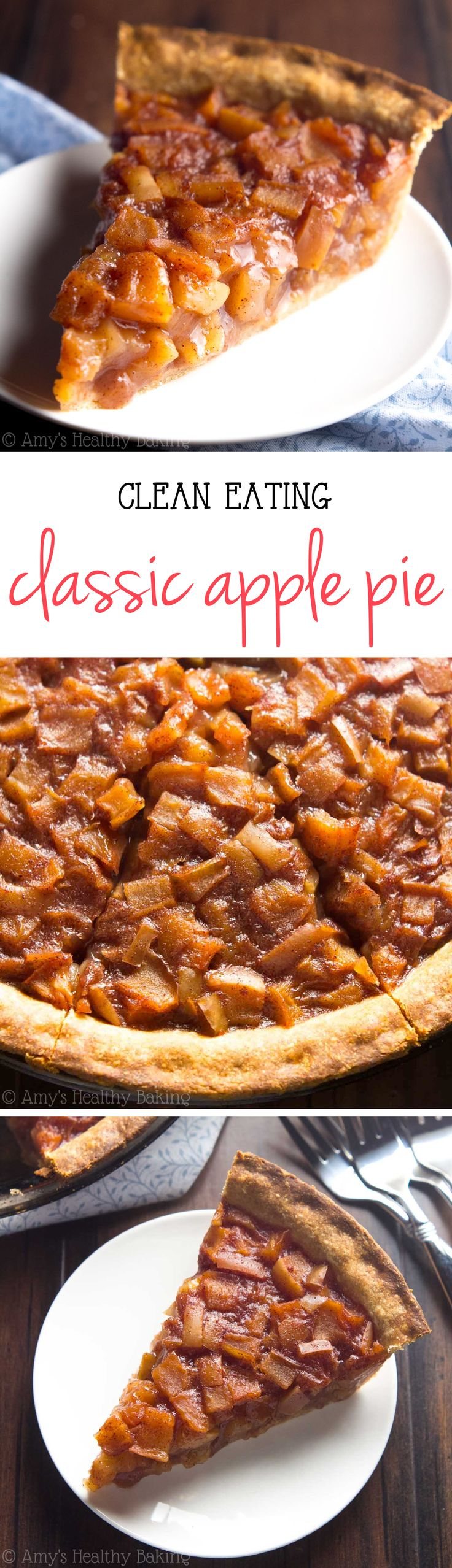 Clean-Eating Classic Apple Pie -- only 140 calories & complete with a flaky, buttery crust! This skinny pie doesn't taste healthy at all! You'll never need another apple pie recipe again!