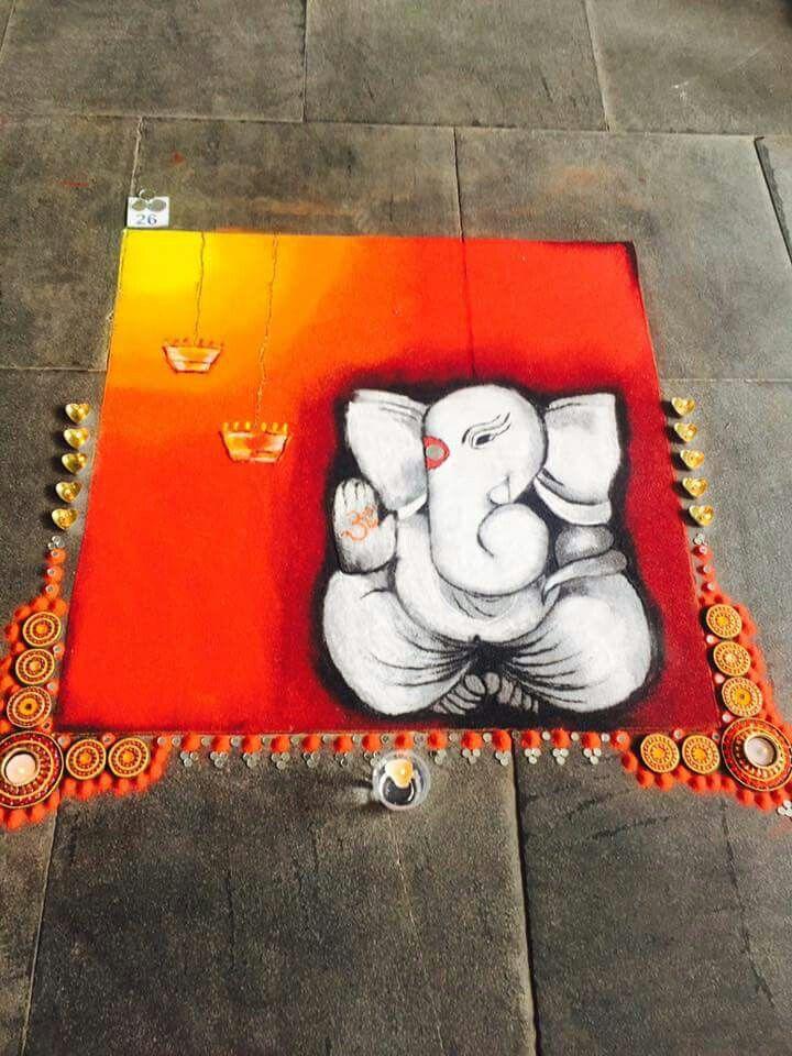 Ganesh rangoli from rangoli art followers