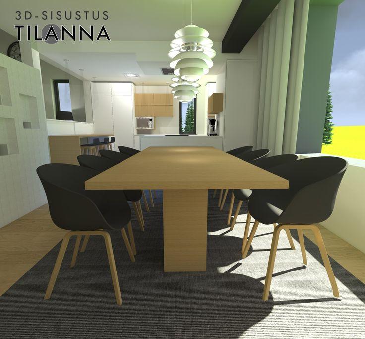 3D-visualisointi ja -sisustussuunnittelu uudiskohteeseen/ moderni - skandinaavinen ruokailutila, mustat About a chair by Hay -tuolit tammijaloilla, tammesta tehty keskijalallinen pöytä, ph snowball-valaisimet/ 3D-sisustus Tilanna