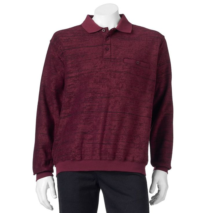 Men's Safe Harbor Classic-Fit Striped Banded-Bottom Polo, Size: Small, Dark Red