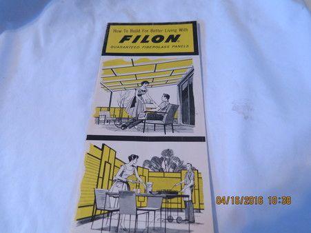 1959 FILON PLASTICS SMOOTH & CORRUGATED FIBERGLASS PANELS FOLD OUT BROCHURE