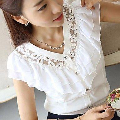 encaje de cuello V gasa con volantes camisa de manga corta de las mujeres seasoncity® – USD $ 17.99