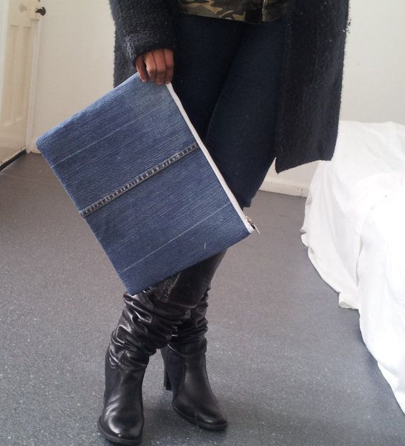 large denim clutch recycled denim clutch upcycled by reloveduk
