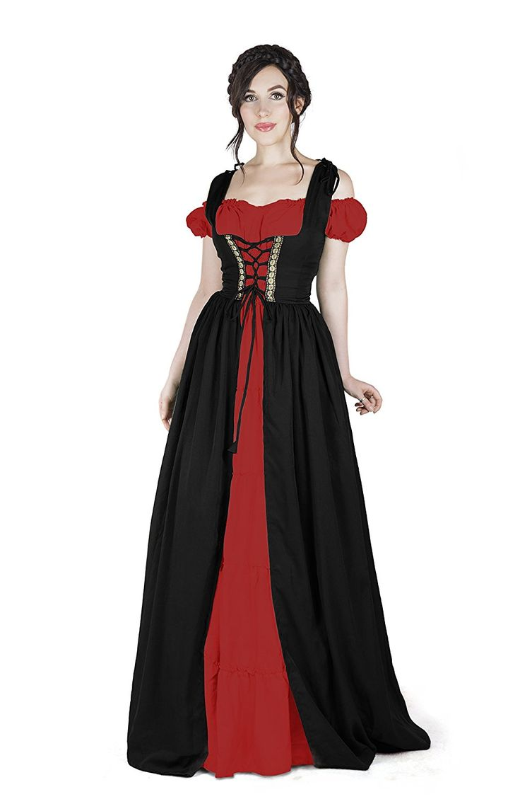 Amazon.com: Renaissance Medieval Irish Costume Over Dress & Boho Chemise Set: Clothing