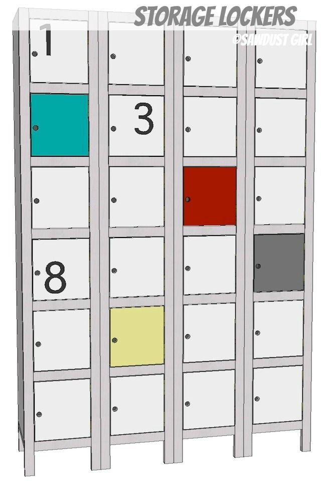 Toy and Shoe Locker Storage -  free and easy plans from https://sawdustgirl.com.