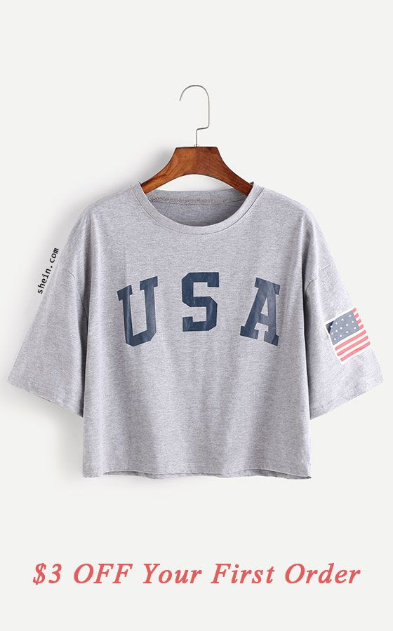 American Flag Letter Print Drop Shoulder Tee