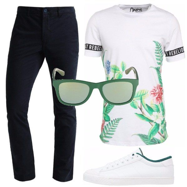 Ispirazione botanica per la t-shirt chiara, pantaloni chino blu navy, sneakers bianche con inserti verdi, occhiali da sole verdi, per riprendere l'atmosfera della t-shirt.