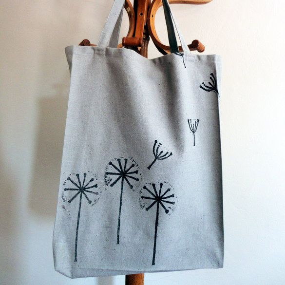 Dandelion block print Tote bag, in Grey and Black.  From Criss Cross