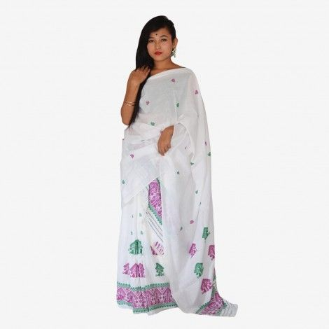 Assamese Traditional Mekhela Chador__   Bua Pokua Xuta Gossmiri Mekhela Chador set is a made from the most adorable threads Pokua Xuta of Assam and the beautiful Green and Purplle flowers on it. As beautiful the cloth is its more comfortable for summers too_____Rs. 2,119.00
