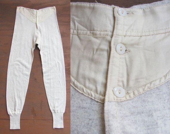 vintage 1950s heathered wool blend long underwear
