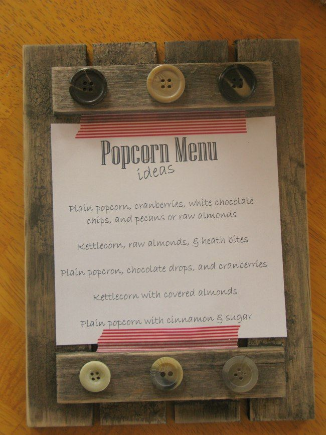 Popcorn Mix-In Menu, Cute!  http://offpagentryplace.wordpress.com