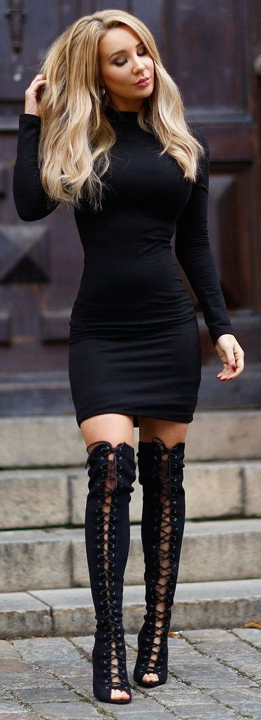 Black dress and boots                                                                                                                                                                                 More