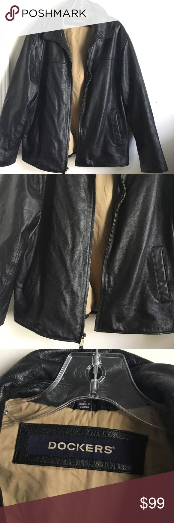 Dockers Mens Leather Jacket Thick Lined Large Heavy Very