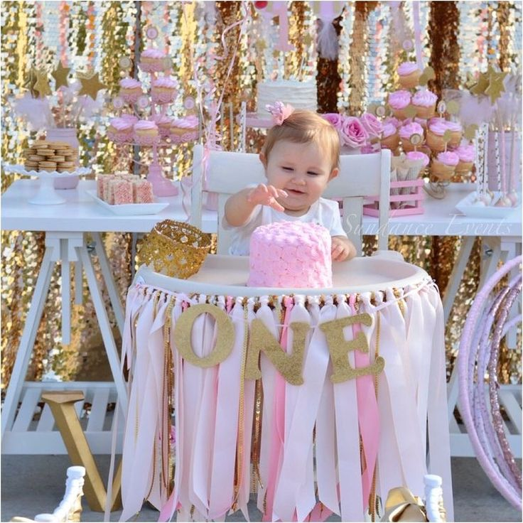 Pink & gold glitter 1st birthday decorations! https://www.etsy.com/listing/564323709/pink-gold-glitter-1st-birthday-high - LOVE the glitter ribbon wound hula hoop favors in the background - probably a little time consuming and possibly expensive, but how fabulous.