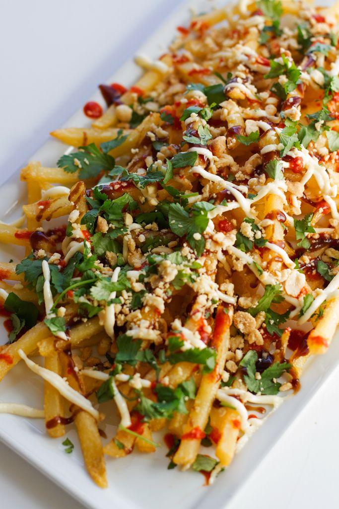 Vietnamese loaded fries are just like Bar Bohemes. Loaded with sriracha sauce, garlic mayo, hoisin sauce, peanuts, and fresh cilantro! Loaded with flavor!