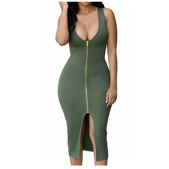 Sexy green BODYCON zipper dress Sexy Bodycon Gold Zipper Front Plunge Midi Dress great for holiday party Dresses Midi