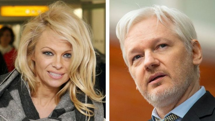 "Pamela Anderson says the Wikileaks founder ""might be the most famous refugee of our time""."