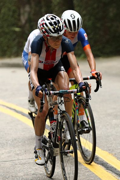 USA's Mara Abbott leads Netherlands' Annemiek Van Vleuten during the Women's road cycling race at the Rio 2016 Olympic Games in Rio…
