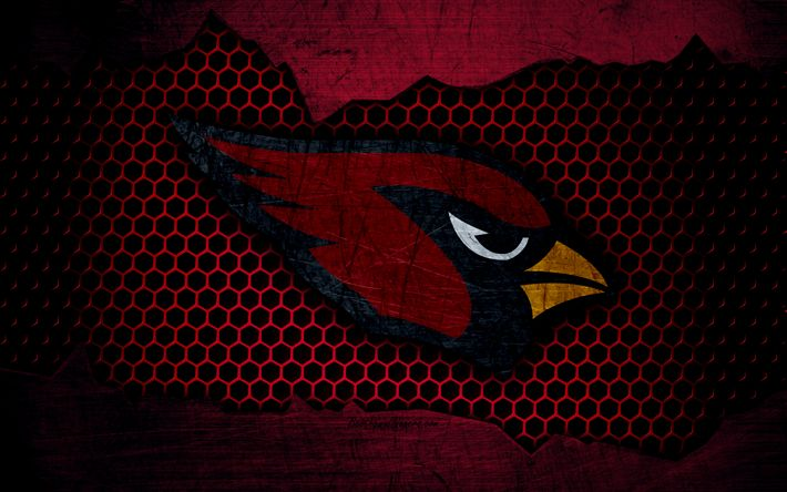 Download wallpapers Arizona Cardinals, 4k, logo, NFL, american football, NFC, USA, grunge, metal texture, West Division