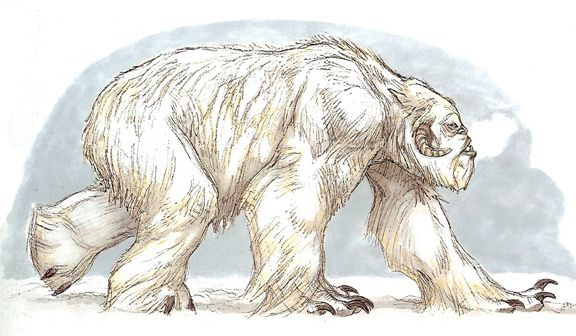Sheepsquatch- American cryptid: a huge white bear like creature with goat horns, opossum tail, and raccoon like hands. It supposedly reeked of sulfur. It roams in the forest of Virginia