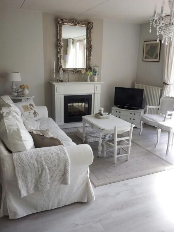 Living Room Shabby Chic French Country Rustic Swedish Decor Idea