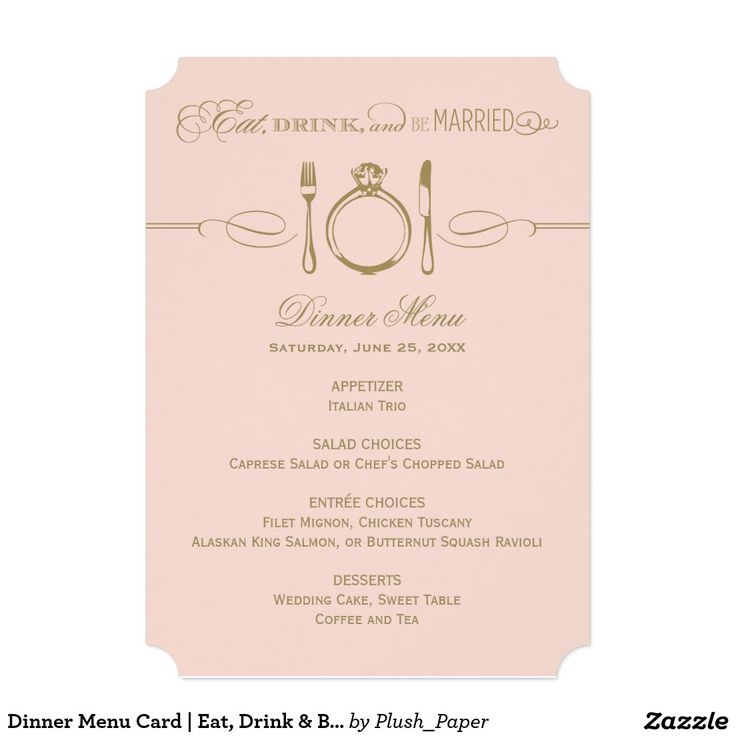"""Dinner Menu Card   Eat, Drink & Be Married Theme 5"""" X 7"""" Invitation Card"""