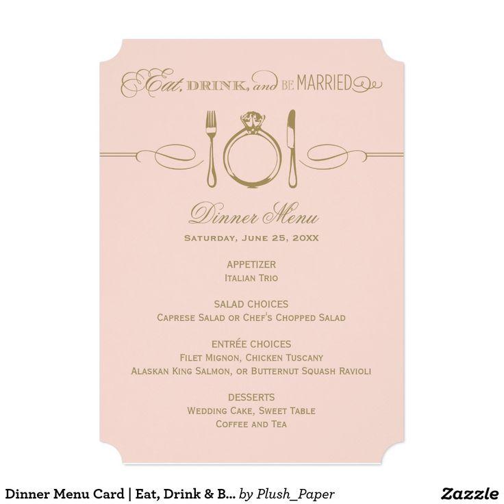 夕食メニューカード|は、飲み物食べましたり及び結婚したなテーマです 12.7 X 17.8 インビテーションカード