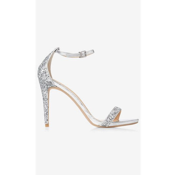 Express Silver Glitter Sleek Heeled Sandal ($56) ❤ liked on Polyvore featuring shoes, sandals, silver, strap sandals, strappy sandals, sparkly sandals, open toe sandals and adjustable strap sandals