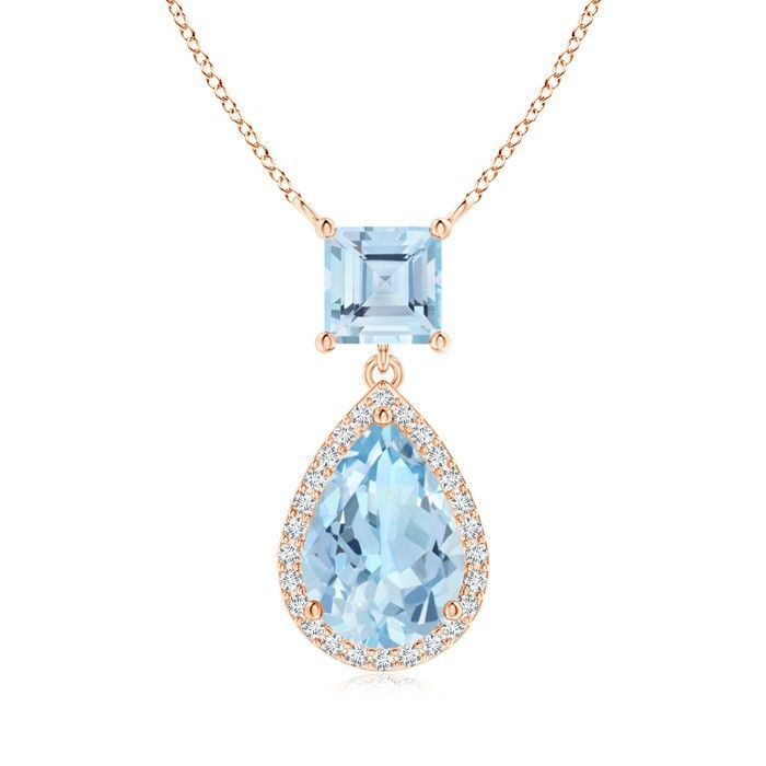 Angara Pear Drop London Blue Topaz Diamond Halo Vintage Pendant in Rose Gold 9Vs231OHg